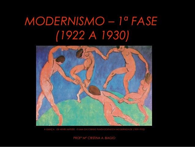 MODERNISMO – 1ª FASEMODERNISMO – 1ª FASE (1922 A 1930)(1922 A 1930) A DANÇA, DE HENRI MATISSE, É UMA DAS OBRAS FUNDADORAS ...