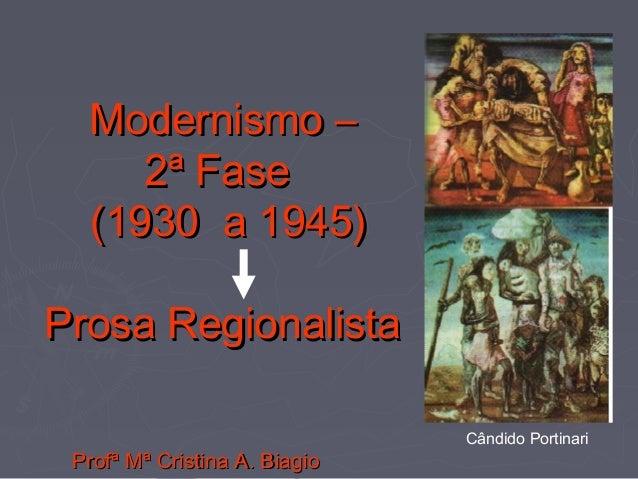 Modernismo –Modernismo – 2ª Fase2ª Fase (1930 a 1945)(1930 a 1945) Prosa RegionalistaProsa Regionalista Profª Mª Cristina ...