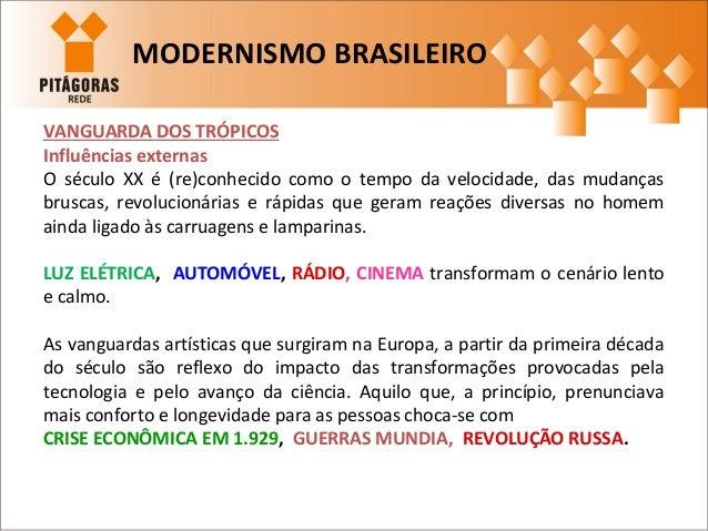 MODERNISMO BRASILEIRO VANGUARDA DOS TRÓPICOS Influências externas O século XX é (re)conhecido como o tempo da velocidade, ...