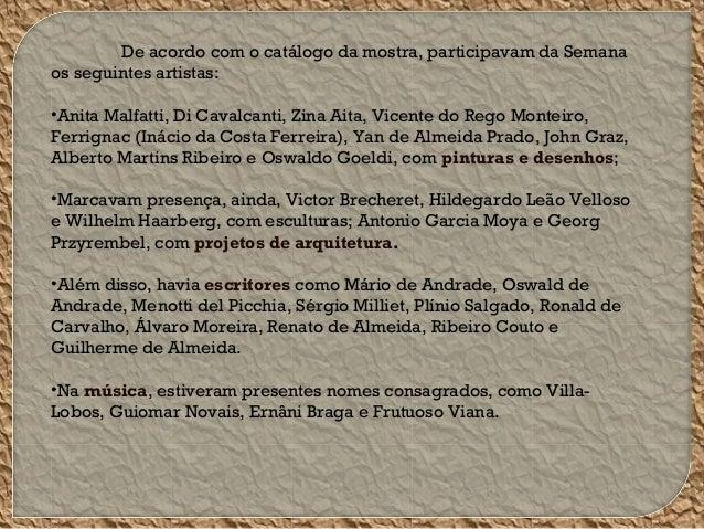 De acordo com o catálogo da mostra, participavam da Semana os seguintes artistas: •Anita Malfatti, Di Cavalcanti, Zina Ait...