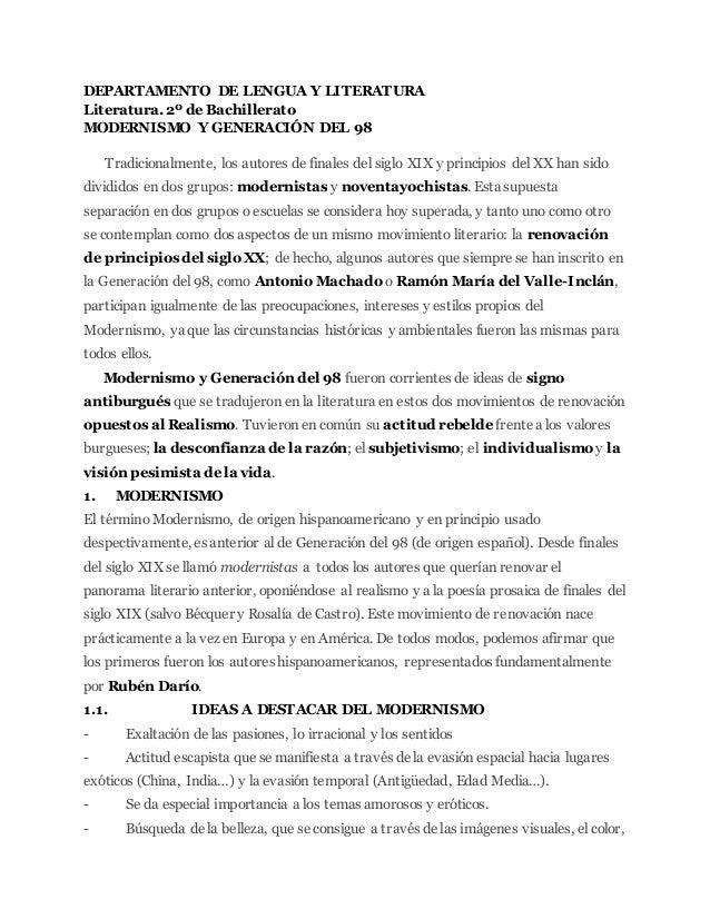DEPARTAMENTO DE LENGUA Y LITERATURA Literatura. 2º de Bachillerato MODERNISMO Y GENERACIÓN DEL 98 Tradicionalmente, los au...