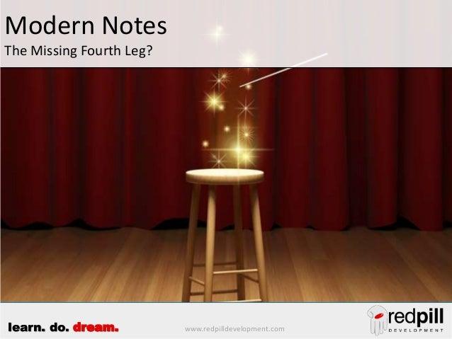 www.redpilldevelopment.comlearn. do. dream. Modern Notes The Missing Fourth Leg?
