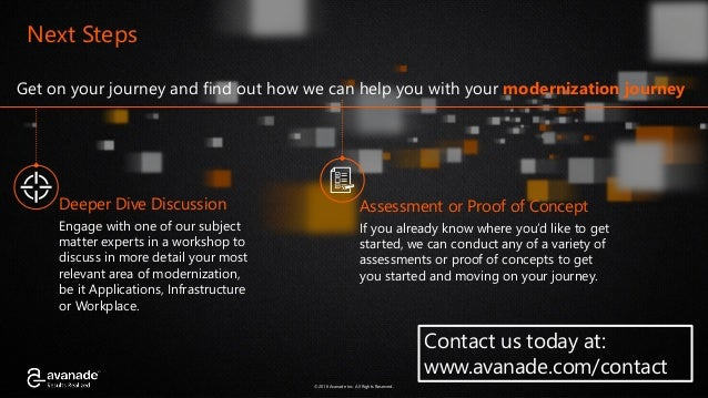 ©2016 Avanade Inc. All Rights Reserved.©2016 Avanade Inc. All Rights Reserved. Get on your journey and find out how we can...