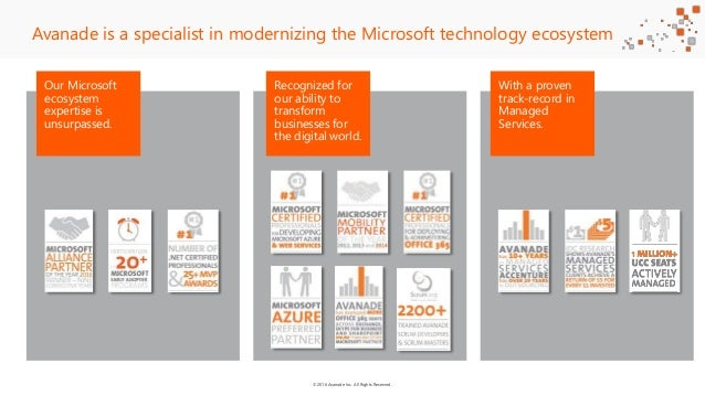 ©2016 Avanade Inc. All Rights Reserved. Our Microsoft ecosystem expertise is unsurpassed. Avanade is a specialist in moder...
