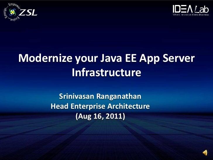 Modernize your Java EE App Server         Infrastructure        Srinivasan Ranganathan      Head Enterprise Architecture  ...