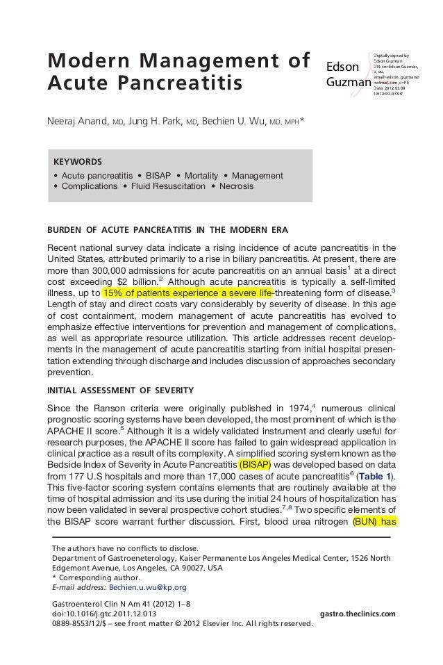 Modern Management of Acute Pancreatitis Neeraj Anand, MD, Jung H. Park, MD, Bechien U. Wu, MD, MPH* KEYWORDS • Acute pancr...