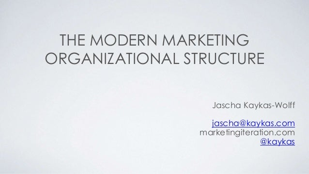 THE MODERN MARKETING  ORGANIZATIONAL STRUCTURE  Jascha Kaykas-Wolff  jascha@kaykas.com  marketingiteration.com  @kaykas