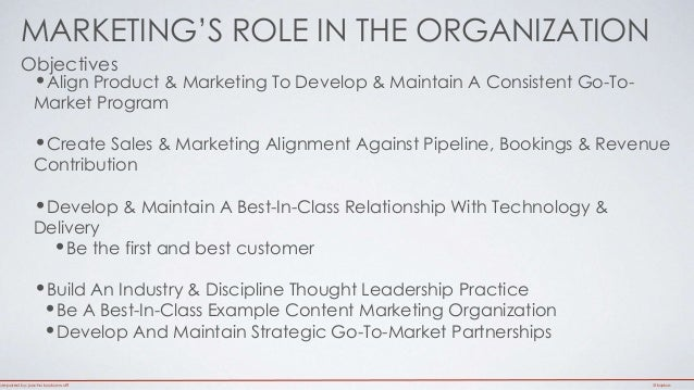 MARKETING'S ROLE IN THE ORGANIZATION  Objectives  •Align Product & Marketing To Develop & Maintain A Consistent Go-To-  Ma...