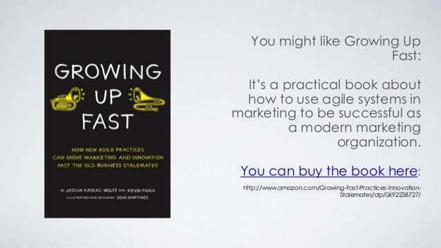 You might like Growing Up  Fast:  It's a practical book about  how to use agile systems in  marketing to be successful as ...