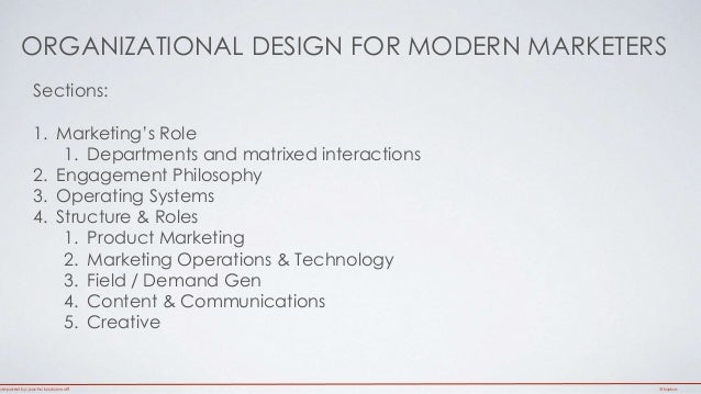 ORGANIZATIONAL DESIGN FOR MODERN MARKETERS  Sections:  1. Marketing's Role  1. Departments and matrixed interactions  2. E...