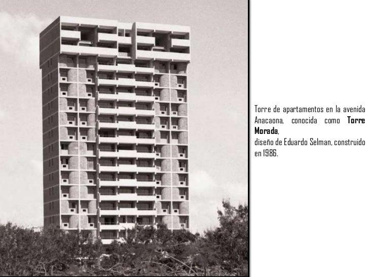 Torre de apartamentos en la avenida Anacaona, conocida como Torre Morada,<br />diseño de Eduardo Selman, construido en 198...