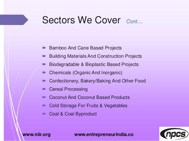 Sectors We Cover  Bamboo And Cane Based Projects  Building Materials And Construction Projects  Biodegradable & Bioplas...