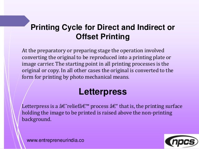 www.entrepreneurindia.co Printing Cycle for Direct and Indirect or Offset Printing At the preparatory or preparing stage t...