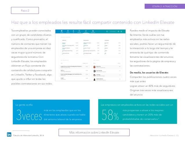 Atracción › LinkedIn Elevate // 23 Tus empleados ya están conectados con un grupo de candidatos diverso y cualificado. Como...
