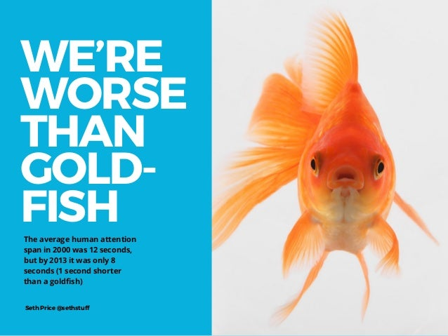WE'RE WORSE THAN GOLD- FISH Seth Price @sethstuff The average human attention span in 2000 was 12 seconds, but by 2013 it ...