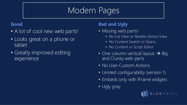 ... Modern Pages In A Classic Site; 8. Good Bad ...