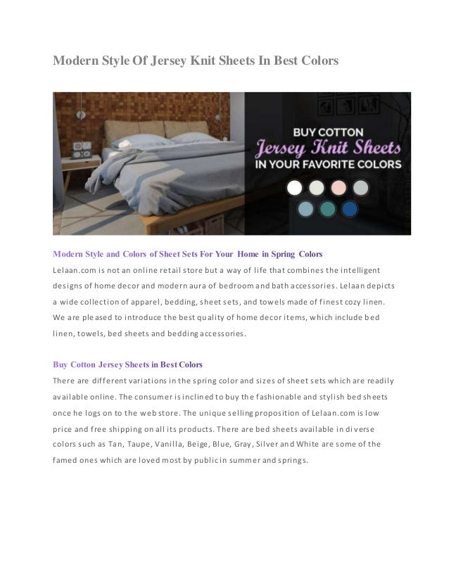 Modern Style Of Jersey Sheets In Best Colors