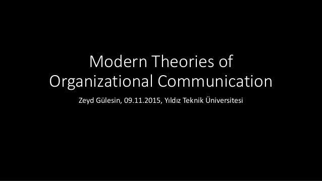 Modern Theories of Organizational Communication Zeyd Gülesin, 09.11.2015, Yıldız Teknik Üniversitesi
