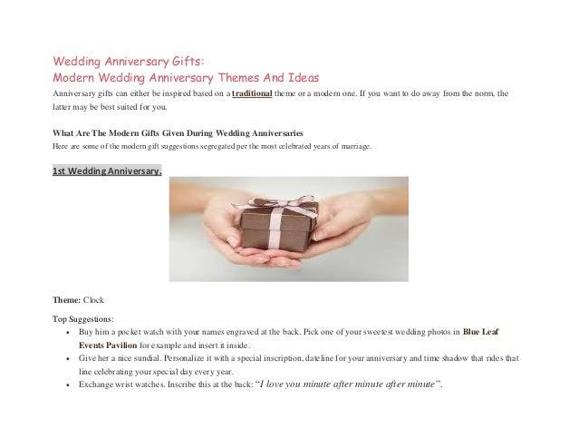 Wedding Anniversary Gifts Modern Wedding Anniversary Themes