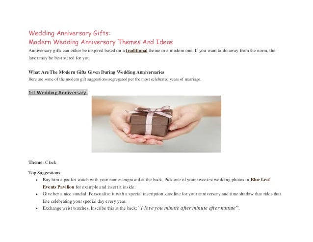sc 1 st  SlideShare & Wedding Anniversary Gifts: Modern wedding anniversary themes and ideas