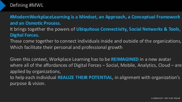 Confidential – Not to be Shared Defining #MWL #ModernWorkplaceLearning is a Mindset, an Approach, a Conceptual Framework a...