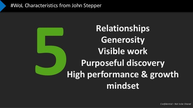 Confidential – Not to be Shared #WoL Characteristics from John Stepper Relationships Generosity Visible work Purposeful di...