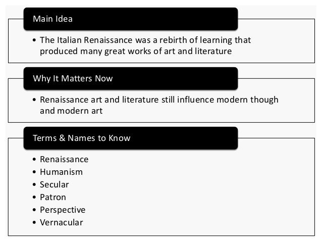 italian renaissance thesis statement