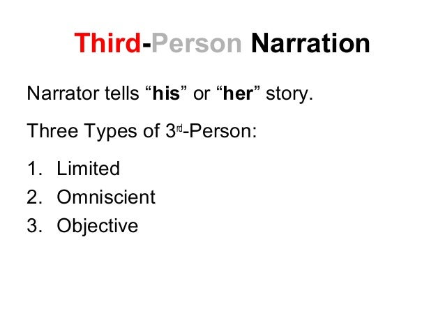 narrative essay in third person The two most common narrative voices are first-person and third-person viewpoints first-person narration is seen when the narrator is a character in the story, and 'i' or 'we' are often used to.