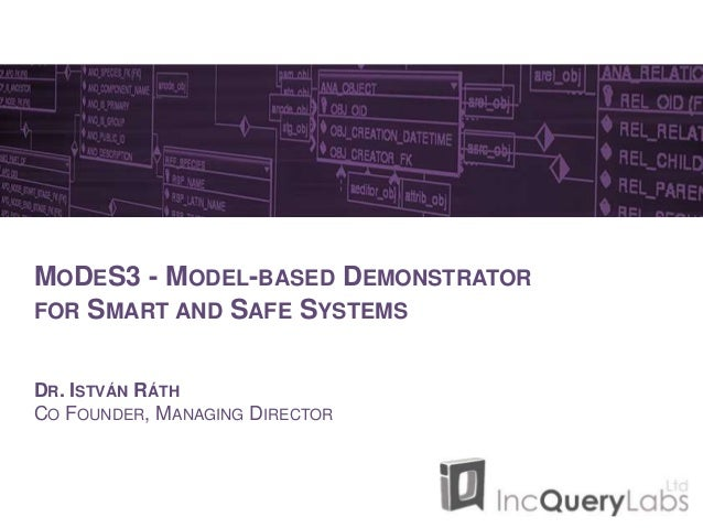 MODES3 - MODEL-BASED DEMONSTRATOR FOR SMART AND SAFE SYSTEMS DR. ISTVÁN RÁTH CO FOUNDER, MANAGING DIRECTOR