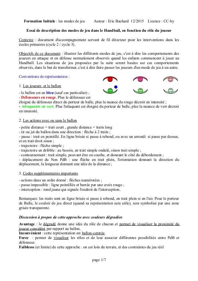Formation Initiale : les modes de jeu Auteur : Eric Bachard 12/2015 Licence : CC-by Essai de description des modes de jeu ...