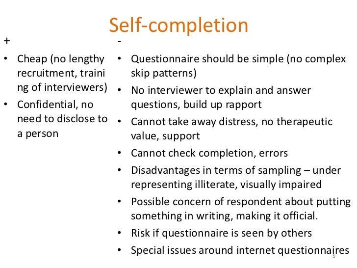 some advantages and disadvantages of a questionnaire essay