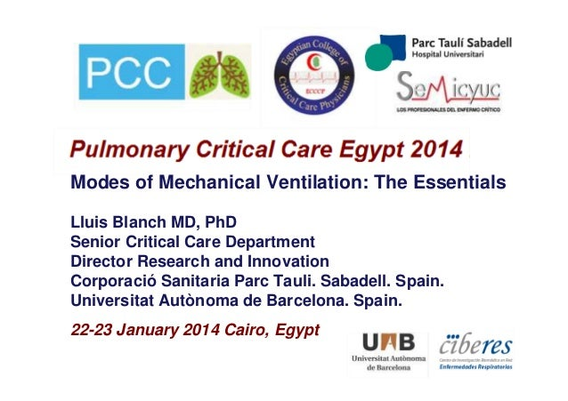 Modes of Mechanical Ventilation: The Essentials Lluis Blanch MD, PhD Senior Critical Care Department Director Research and...