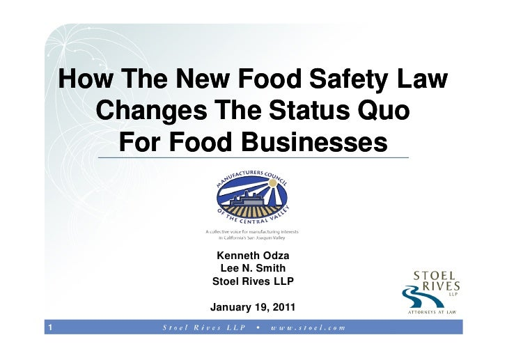 How The New Food Safety Law      Changes The Status Quo        For Food Businesses               Kenneth Odza             ...