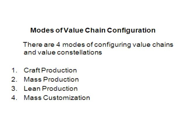 CRAFT PRODUCTION• For centuries , value chain configuration was based on the notion of  craft• Everything was crafted by t...