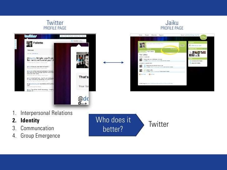 Twitter                            Jaiku                PROFILE PAGE                      PROFILE PAGE     1.   Interperso...