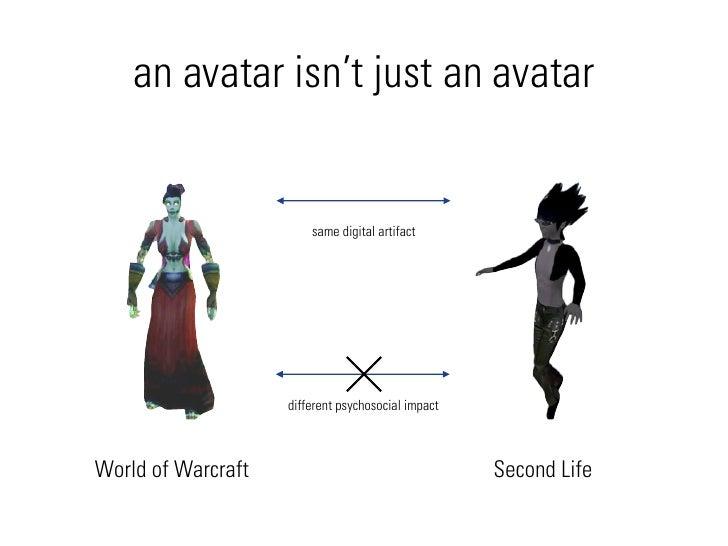 an avatar isn't just an avatar                           same digital artifact                         different psychosoc...
