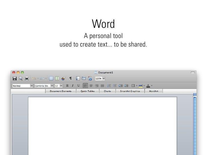 Word           A personal tool used to create text... to be shared.