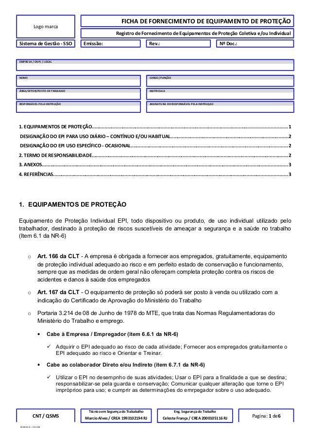 458c9557f6fc0 Mod ficha fornecimento epi. Logo marca FICHA DE FORNECIMENTO DE EQUIPAMENTO  DE PROTEÇÃO Registro de Fornecimento de Equipamentos de Proteção ...