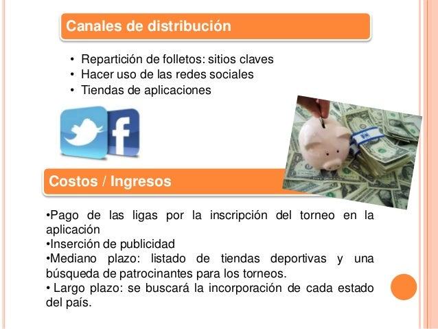Canales de distribución  • Repartición de folletos: sitios claves  • Hacer uso de las redes sociales  • Tiendas de aplicac...