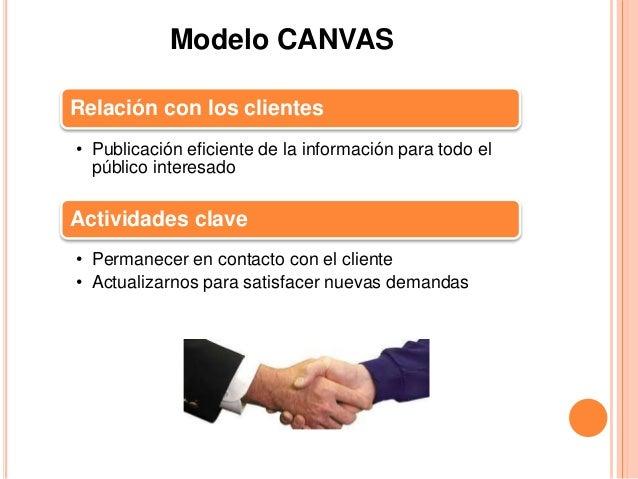 Modelo CANVAS  Relación con los clientes  • Publicación eficiente de la información para todo el  público interesado  Acti...