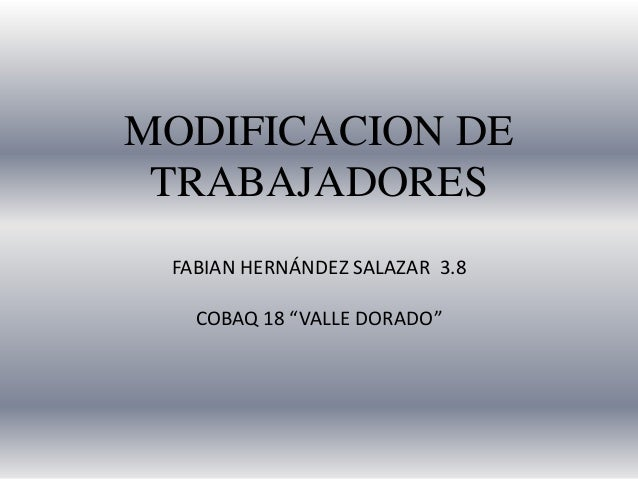 """MODIFICACION DE TRABAJADORES FABIAN HERNÁNDEZ SALAZAR 3.8 COBAQ 18 """"VALLE DORADO"""""""