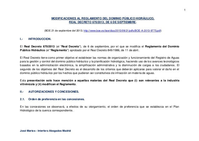 1 MODIFICACIONES AL REGLAMENTO DEL DOMINIO PÚBLICO HIDRÁULICO, REAL DECRETO 670/2013, DE 6 DE SEPTIEMBRE. (BOE 21 de septi...