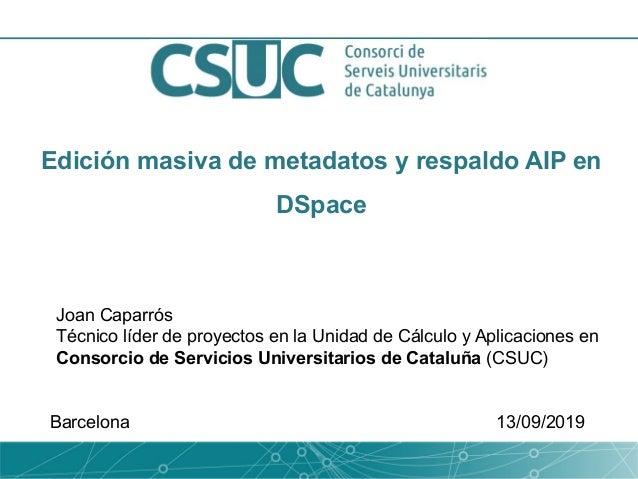Edición masiva de metadatos y respaldo AIP en DSpace Joan Caparrós Técnico líder de proyectos en la Unidad de Cálculo y Ap...