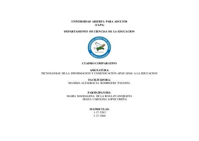 UNIVERSIDAD ABIERTA PARA ADULTOS (UAPA) DEPARTAMENTO DE CIENCIAS DE LA EDUCACION CUADRO COMPARATIVO ASIGNATURA: TECNOLOGIA...