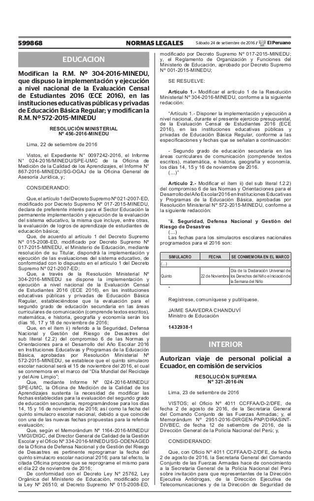 599868 NORMAS LEGALES Sábado 24 de setiembre de 2016 / El Peruano EDUCACION Modifican la R.M. Nº 304-2016-MINEDU, que disp...