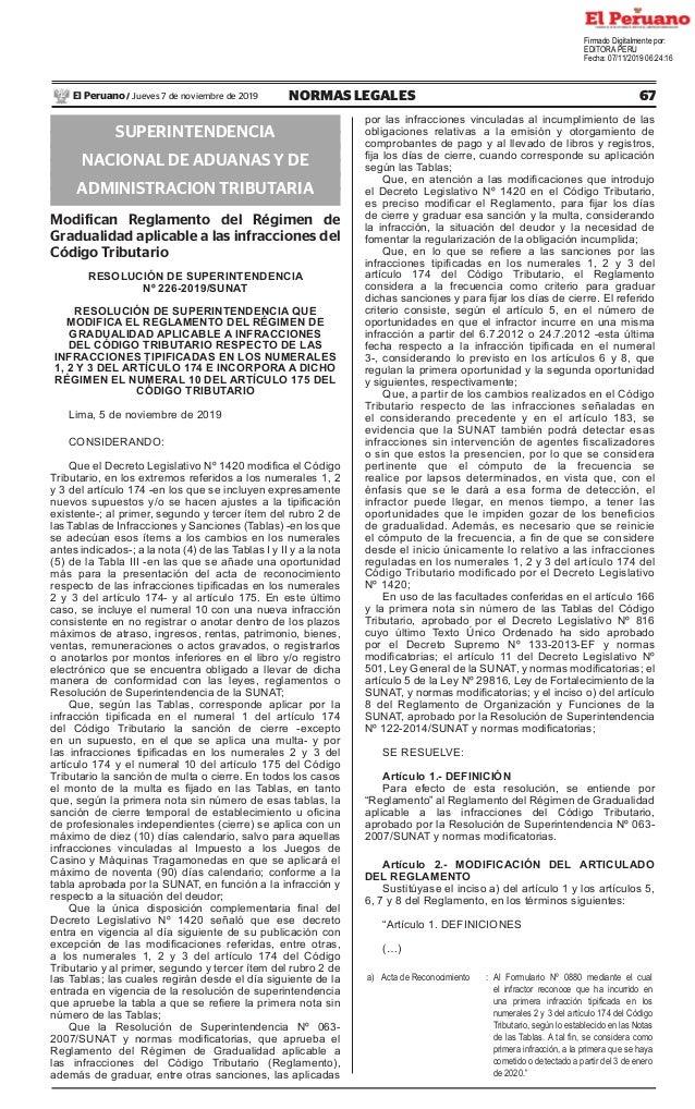67NORMAS LEGALESJueves 7 de noviembre de 2019El Peruano / SUPERINTENDENCIA NACIONAL DE ADUANAS Y DE ADMINISTRACION TRIBUTA...