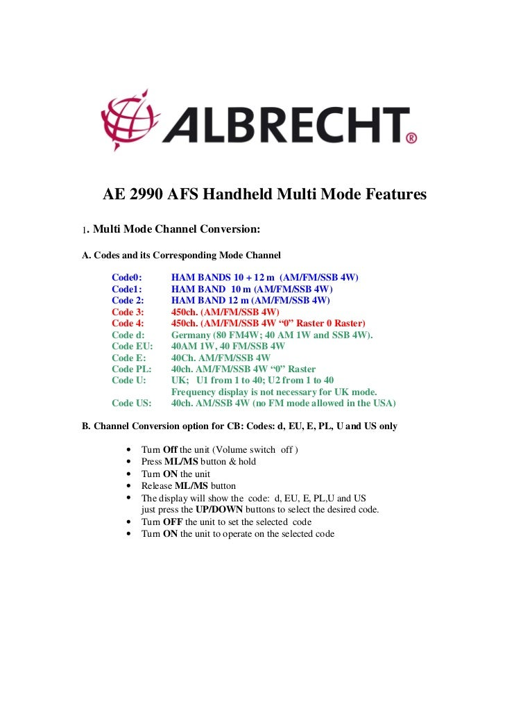 AE 2990 AFS Handheld Multi Mode Features1. Multi Mode Channel Conversion:A. Codes and its Corresponding Mode Channel      ...