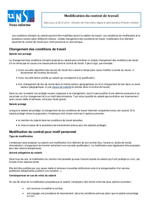 Modification Du Contrat De Travail