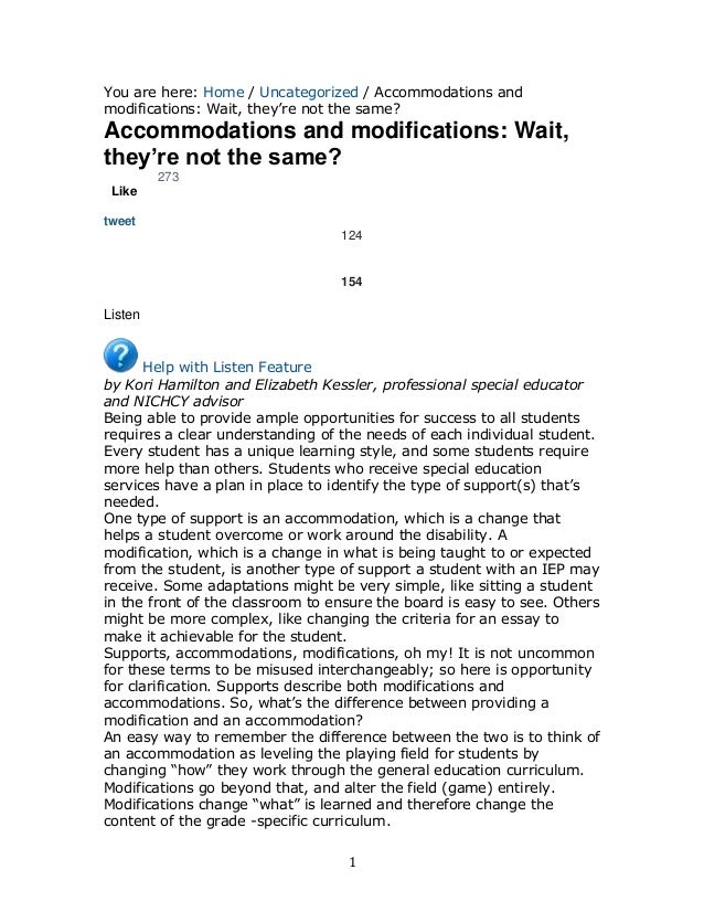 You are here: Home / Uncategorized / Accommodations and modifications: Wait, they're not the same?  Accommodations and mod...