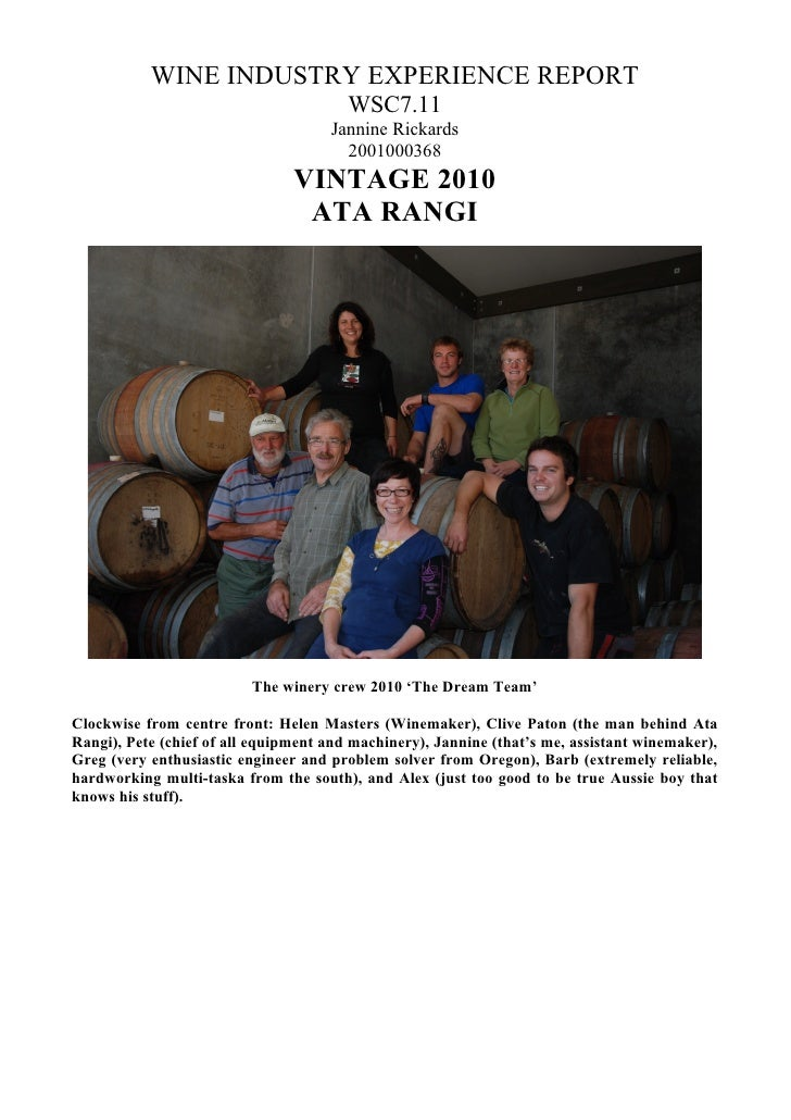 WINE INDUSTRY EXPERIENCE REPORT                                         WSC7.11                                      Janni...
